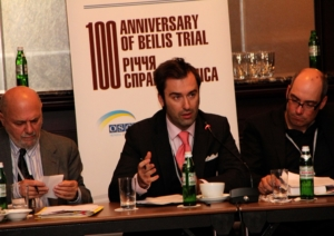 Peter Zalmayev of EDI addresses the international conference in Kiev, Ukraine, on the 100-year anniversary of the Beilis trial