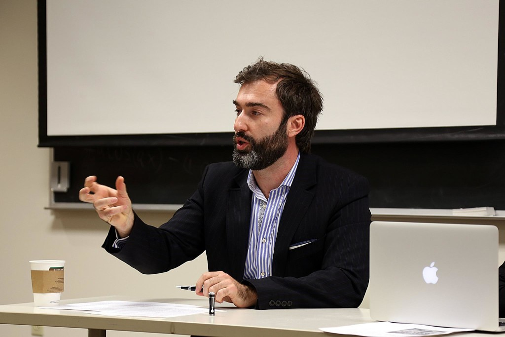 "Peter Zalmayev speaking at ""Operation Crimea"" briefing at Lehigh University, November 12, 2014"