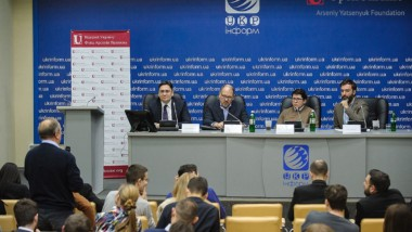 """On February 16, 2017, Eurasia Democracy Initiative took part in an expert briefing organized by Arseny Yatseniuk's Foundation """"Open Ukraine"""" at UkrInform titled """"New Challenges and Agenda of the Trump Administration. What Does It Mean for Ukraine and the World."""""""